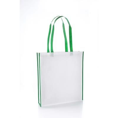 Picture of VIRGINIA NON WOVEN PP TOTE BAG in White with Green Colour Handles & Trim