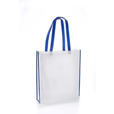 VIRGINIA NON WOVEN PP TOTE BAG in White with Navy Colour Handles & Trim