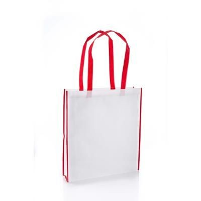 Picture of VIRGINIA NON WOVEN PP TOTE BAG in White with Red Colour Handles & Trim