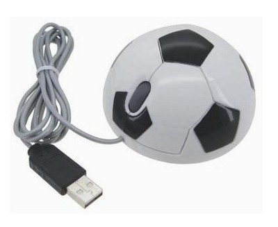 Picture of FOOTBALL USB OPTICAL COMPUTER MOUSE in White & Black