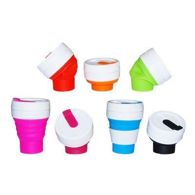 Picture of FOLDING COLLAPSIBLE SILICON POCKET CUP with Lid