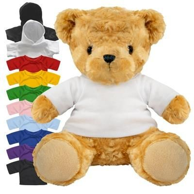 Picture of BLANK PLUSH SOFT TOY 19CM VICTORIA TEDDY BEAR with Colour Tee Shirt or Hoody