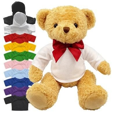 Picture of BLANK PLUSH SOFT TOY WILLIAM TEDDY BEAR with Colour Tee Shirt or Hoody WITH RED RIBBON