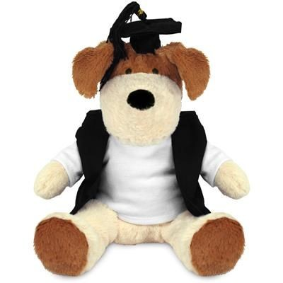 Picture of BLANK PLUSH SOFT TOY 20CM DARCY DOG with Graduation Outfit