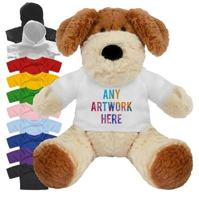 Picture of PRINTED PROMOTIONAL SOFT TOY 20CM DARCY DOG with Hoody or Colour Tee Shirt