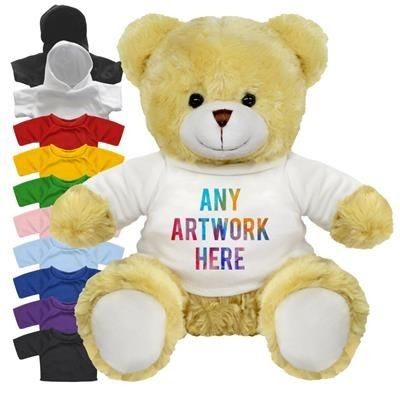 Picture of PRINTED PROMOTIONAL SOFT TOY 25CM ELIZABETH TEDDY BEAR with Hoody or Colour Tee Shirt