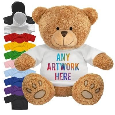 Picture of PRINTED PROMOTIONAL SOFT TOY EDWARD I TEDDY BEAR with Hoody or Colour Tee Shirt
