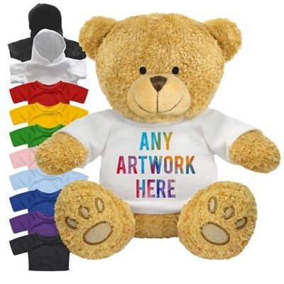 Picture of PRINTED PROMOTIONAL SOFT TOY EDWARD II TEDDY BEAR with Hoody or Colour Tee Shirt