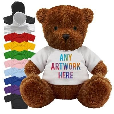 Picture of PRINTED PROMOTIONAL SOFT TOY JAMES I TEDDY BEAR with Hoody or Colour Tee Shirt