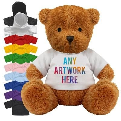 Picture of PRINTED PROMOTIONAL SOFT TOY JAMES II TEDDY BEAR with Hoody or Colour Tee Shirt