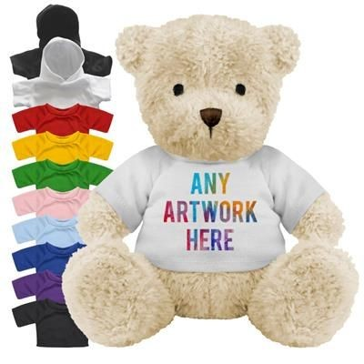 Picture of PRINTED PROMOTIONAL SOFT TOY JAMES III TEDDY BEAR with Hoody or Colour Tee Shirt