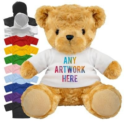 Picture of PRINTED PROMOTIONAL SOFT TOY 19CM VICTORIA TEDDY BEAR with Hoody or Colour Tee Shirt