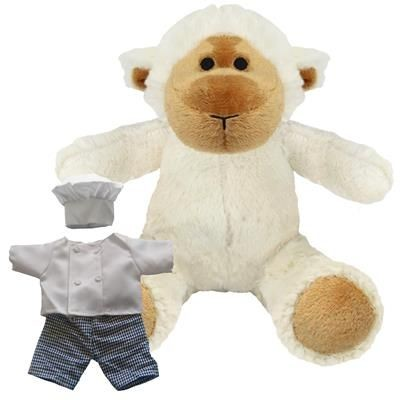 Picture of BLANK PLUSH SOFT TOY 20CM LUCY LAMB with Chef Outfit