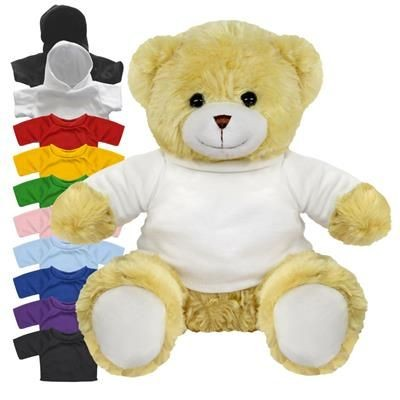 Picture of BLANK PLUSH SOFT TOY 20CM ELIZABETH TEDDY BEAR with Colour Tee Shirt or Hoody