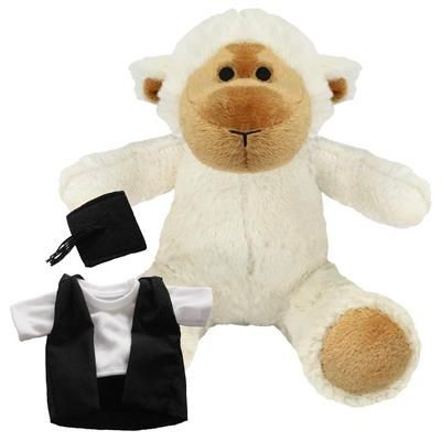 Picture of BLANK PLUSH SOFT TOY 20CM LUCY LAMB with Graduation Outfit