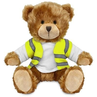 Picture of BLANK PLUSH SOFT TOY CHARLES TEDDY BEAR HI-VIS VEST