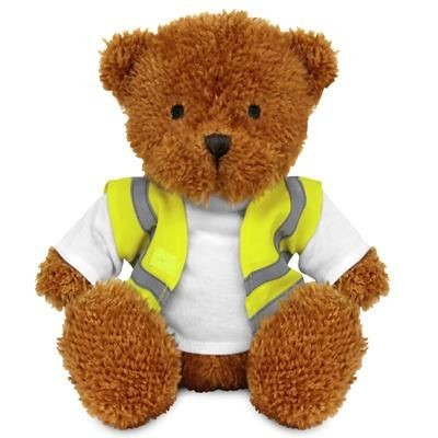 Picture of BLANK PLUSH SOFT TOY JAMES II TEDDY BEAR with Hi-vis Vest