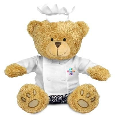Picture of PRINTED PROMOTIONAL SOFT TOY EDWARD II TEDDY BEAR with Chef Outfit