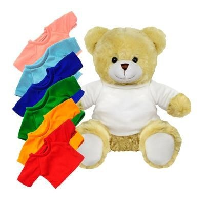 Picture of PRINTED PROMOTIONAL SOFT TOY 25CM ELIZABETH TEDDY BEAR with Colour Tee Shirt