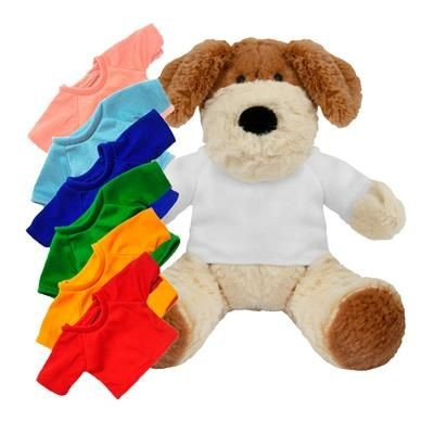 Picture of PRINTED PROMOTIONAL SOFT TOY 20CM DARCY DOG with Colour Tee Shirt