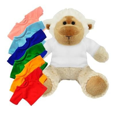 Picture of PRINTED PROMOTIONAL SOFT TOY 20CM LUCY LAMB with Colour Tee Shirt