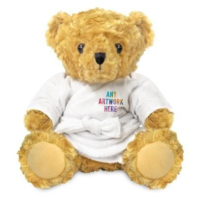 Picture of PRINTED PROMOTIONAL SOFT TOY 19CM VICTORIA TEDDY BEAR with Dressing Gown