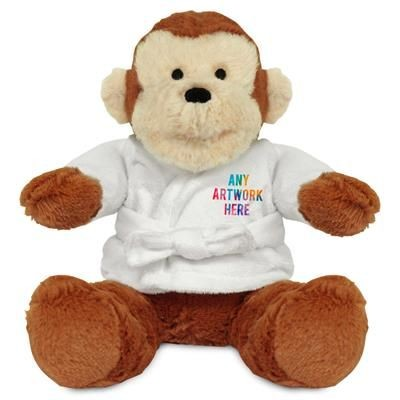 Picture of PRINTED PROMOTIONAL SOFT TOY 20CM MAX MONKEY with Dressing Gown