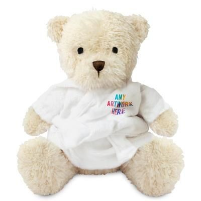 Picture of PRINTED PROMOTIONAL SOFT TOY JAMES III TEDDY BEAR with Dressing Gown