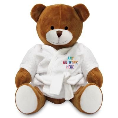 Picture of PRINTED PROMOTIONAL SOFT TOY RICHARD TEDDY BEAR with Dressing Gown