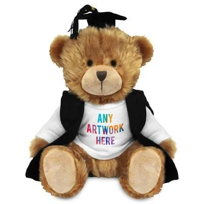 Picture of PRINTED PROMOTIONAL SOFT TOY CHARLES TEDDY BEAR with Graduation Outfit