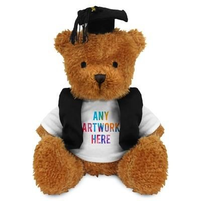 Picture of PRINTED PROMOTIONAL SOFT TOY JAMES II TEDDY BEAR with Graduation Outfit
