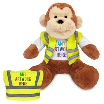 Picture of PRINTED PROMOTIONAL SOFT TOY 20CM MAX MONKEY with Hi-vis Vest