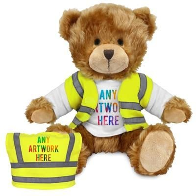 Picture of PRINTED PROMOTIONAL SOFT TOY CHARLES TEDDY BEAR HI-VIS VEST