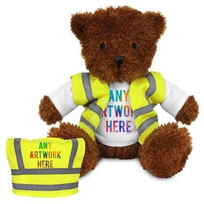 Picture of PRINTED PROMOTIONAL SOFT TOY JAMES I TEDDY BEAR with Hi-vis Vest