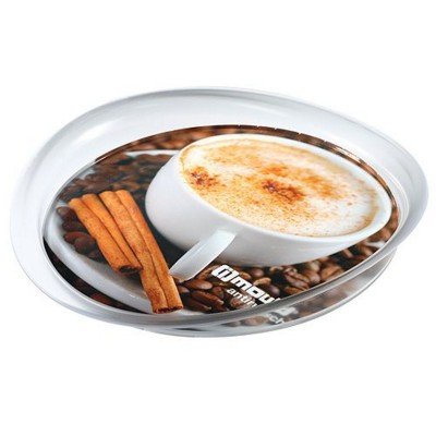 Picture of IMOULD BRANDED NON SLIP ROUND SERVING TRAY in Clear Transparent