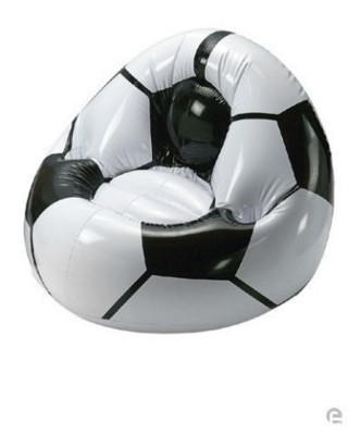 Picture of INFLATABLE FOOTBALL CHAIR SEAT in White & Black