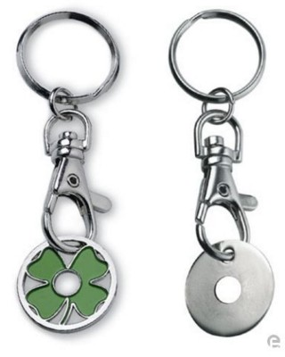 Picture of METAL TROLLEY COIN KEYRING in Silver