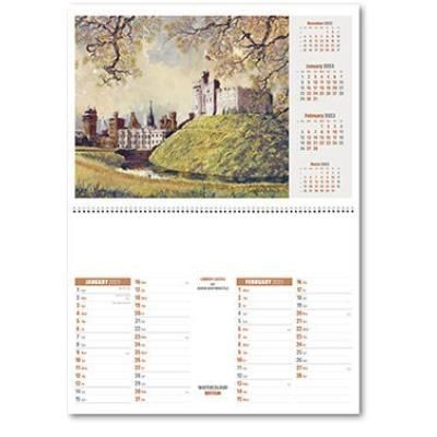 Picture of WATERCOLOUR BRITAIN CENTRAL SPIRAL WALL CALENDAR