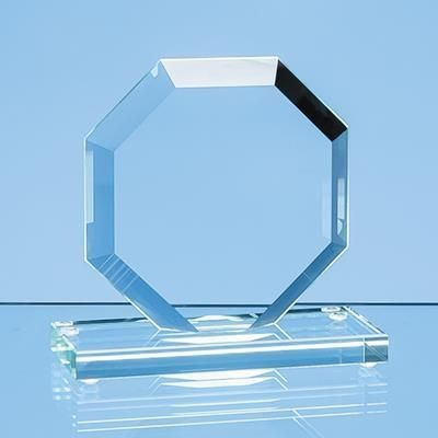 Picture of 10CM x 10CM x 12MM JADE GLASS BEVELLED EDGE OCTAGON AWARD