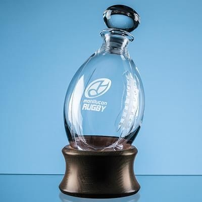 Picture of DARTINGTON CRYSTAL RUGBY BALL DECANTER with Wood Base
