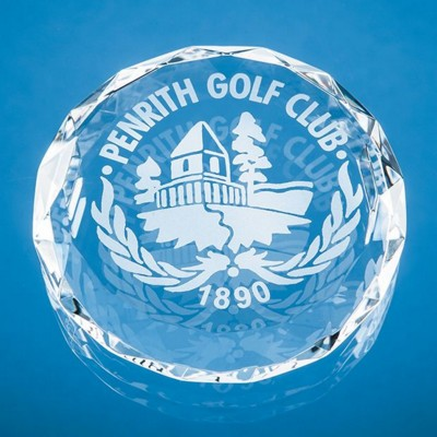 Picture of 8CM OPTICAL CRYSTAL FACET CIRCLE PAPERWEIGHT