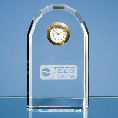 Picture of 13CM OPTICAL CRYSTAL BEVELLED ARCH CLOCK