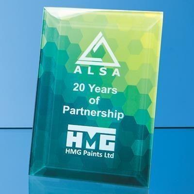 Picture of 25X15CM CLEAR TRANSPARENT GLASS RECTANGULAR AWARD with Aluminium Metal Base