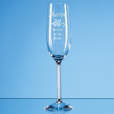 Picture of 2 CRYSTAL CHAMPAGNE FLUTES with Diamante Filled Stems in Satin Lined Gift Box