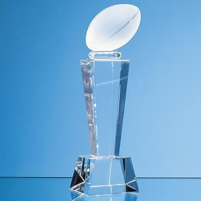 Picture of 18CM OPTICAL CRYSTAL RUGBY BALL COLUMN AWARD