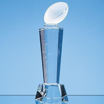 Picture of 21CM OPTICAL CRYSTAL RUGBY BALL COLUMN AWARD