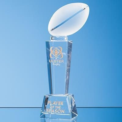 Picture of 24CM OPTICAL CRYSTAL RUGBY BALL COLUMN AWARD