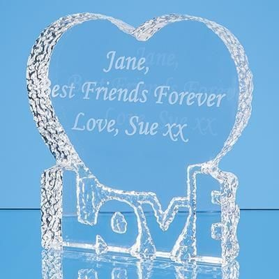 Picture of 10CM OPTICAL CRYSTAL LOVE HEART PAPERWEIGHT