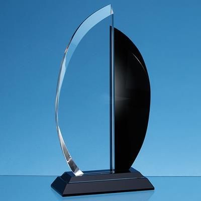 Picture of 21CM CLEAR TRANSPARENT & ONYX BLACK OPTICAL CRYSTAL FACET CURVE AWARD
