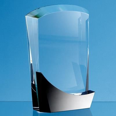 Picture of 15CM OPTICAL CRYSTAL ARCH AWARD with Onyx Black Swooping Base